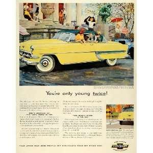 1954 Ad Chevrolet General Motors Yellow Bel Air Sport