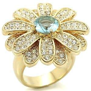 Flower Aqua Marine Synthetic Stone Brass Gold Plated Ring AM Jewelry