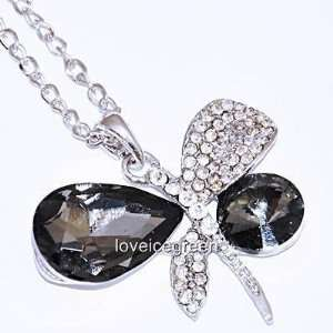 Crystal Glass Black Dragonfly Pendant Necklace 18k Gp