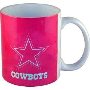 NFL Football Team Pink Logo Design Coffee Mug, Dallas Cowboys