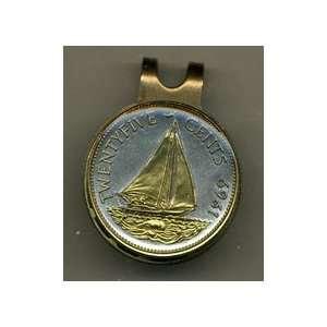 Bahamas 25 Cent Sail Boat Two Tone Coin Golf Ball Marker