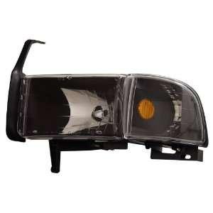 DODGE RAM 94 01 CRYSTAL HEADLIGHTS BLACK AMBER WITH CORNER LIGHT