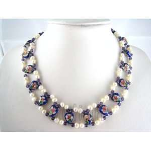 Cloisonne 6mm White Freshwater Pearl Necklace J064