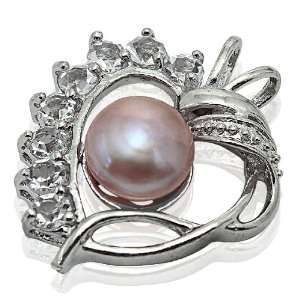 Heart Inspired Design Pearl Pendant with Cz Stones (Pink Pearl