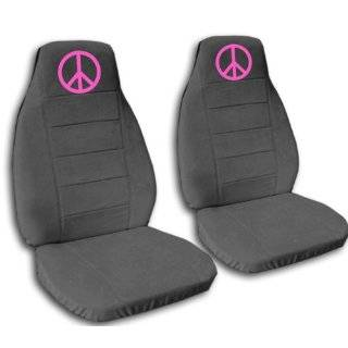 car seat covers. 2 black and hot pink seat covers, with a hot pink