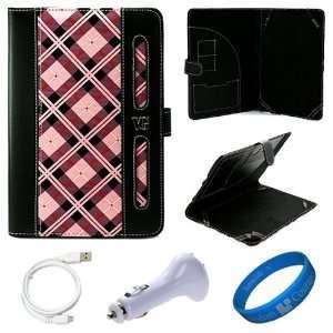 Pink Plaid Executive Leather Folio Case Cover for Lenovo