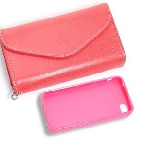 Product] Dark Pink Wallet Card Faux Leather Flip Case+Pink Plastic