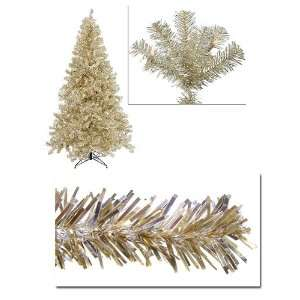 8 Pre Lit Champagne Artificial Tinsel Christmas Tree