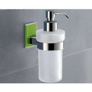 Wall Mounted Frosted Glass Soap Dispenser with Green Mounting 7881 04
