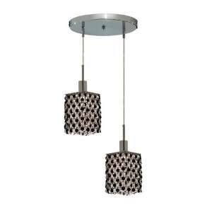 RC Mini 8 Inch High 2 Light Chandelier, Chrome Finish with Jet (Black