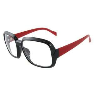 Como Woman Black Rim Red Plastic Arms Rectangle Lens Plain Glasses