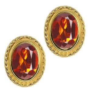 Orange Red Madeira Citrine Gold Plated Silver Stud Earrings Jewelry