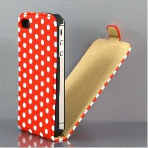 Red and White Polka Dot Pattern PU Leather Flip Case