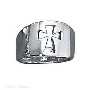 Sterling Silver Unisex Cut Out Christian Religious Cross Ring Tapered