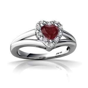 14K White Gold Heart Genuine Ruby Ring Size 6.5 Jewelry