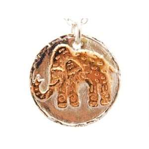 Tone (Silver and Rose Gold) Tribal Elephant Necklace Efy Tal Jewelry