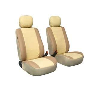 Classic Synthetic Leather Bucket Seat Covers Beige color Automotive