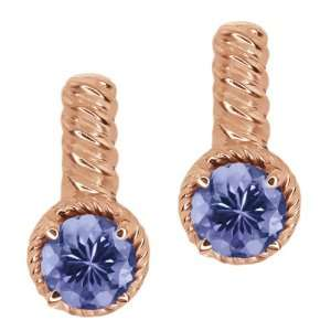 1.80 Ct Round Blue Tanzanite 18k Rose Gold Earrings