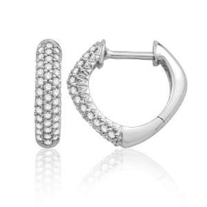 10k White Gold Pave Hoop Diamond Earrings (1/4 cttw, G H color