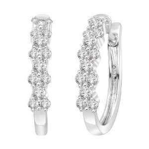 14k White Gold Diamond Hoop Earrings (2/3 cttw, H I Color