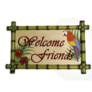Bamboo Parrot Bird Welcome Friends Sign Plaque Wall Home