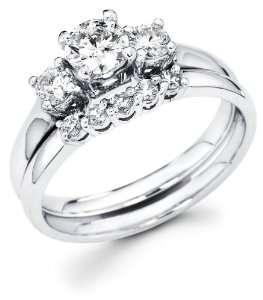 White Gold Three 3 Stone Round Diamond Engagement Anniversary 2 Ring