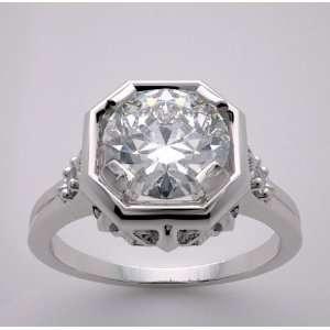 14k White Gold Antique Style Engagement Diamond Ring, TDW