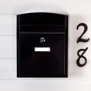 Compact Locking Wall Mount Mailbox   Black Powder Coat