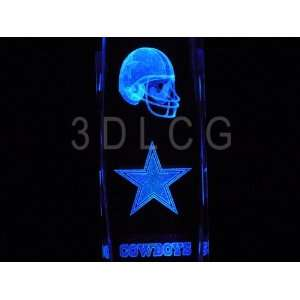 NFL Dallas Cowboys 3D Laser Etched Crystal 6 Inch Sports