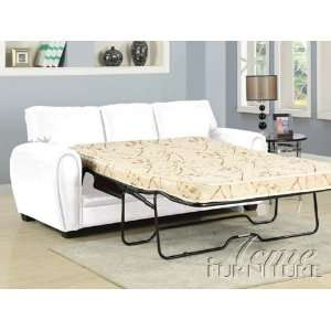 Amber White Bonded Leather Sofa w/Full Sleeper # A15228