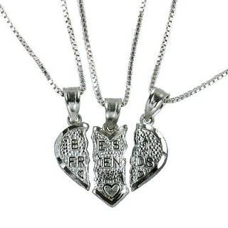 Silver 3 Part Breakable Best Friends Heart Pendant with THREE