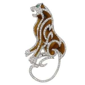14k White Gold Diamond Tiger Eye Panther Pin Pendant (.70