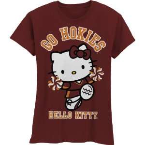 Hokies Hello Kitty Pom Pom Girls Crew Tee Shirt