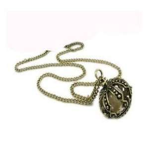 bronze tone crown faux pearl classic pendant long necklace Jewelry