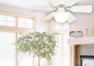Speed Hugger Style Ceiling Fan with Light, White