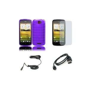 HTC One S (T Mobile) Premium Combo Pack   Purple Argyle TPU Gel Case