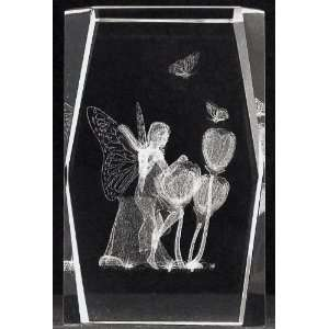 3d Laser Crystal Fairy with Flowers 5x5x8 Cm Cube + 3 Led