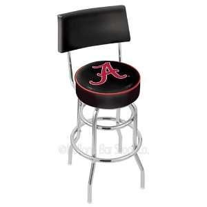 Alabama Crimson Tide A Logo Chrome Double Ring Swivel Bar Stool with