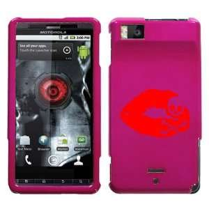 MOTOROLA DROID X RED SKULL LIPS ON A PINK HARD CASE COVER