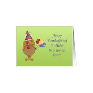 Happy Thanksgiving Birthday Sister Card: Health & Personal