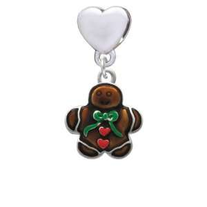 Gingerbread Boy opean Heart Charm Dangle Bead [Jewelry