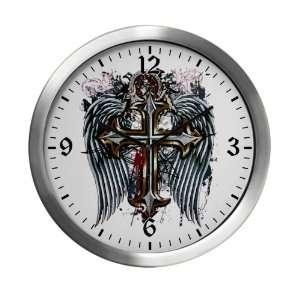 Modern Wall Clock Cross Angel Wings Everything Else