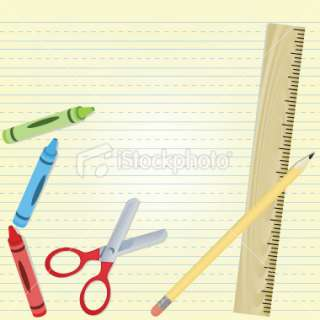 Various Art Tools On a Primary School Paper Background Royalty Free