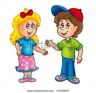 Cartoon Happy Girl And Boy   Color Illustration.   53259037