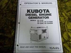 Kubota Diesel Engine Generator GV3120 Operators Manual