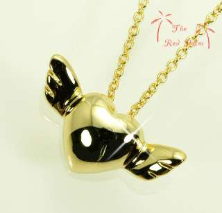 18K GOLD PLATED ANGEL WINGS x LOVE HEART PENDANT NECKLACE