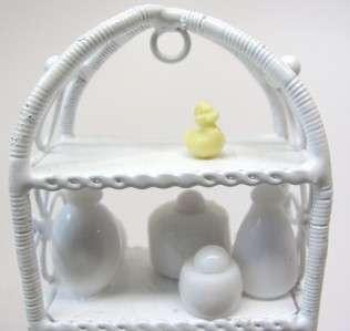 Dollhouse Miniature Artist Wire Bathroom Cabinet FILLED