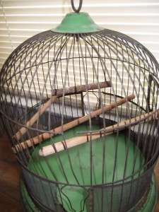 Vtg Metal Shabby Distressed Green Paint Bird Cage Hanging Table