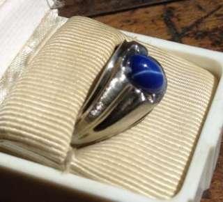 Vintage Mens Art Deco 14K White Gold BLUE STAR SAPPHIRE Ring Sz9 9.25