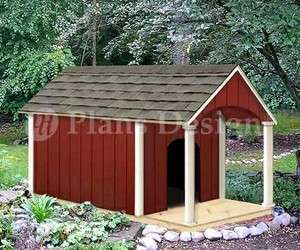 36 x 60 Gable Roof Style w/ Porch Dog House Plans, 90305G, Size up